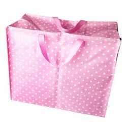Jumbo laundry bag made from recycled plastic bottles. Pink spot