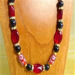 necklace red and black speckle