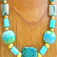 Handmade necklace blue lampwork