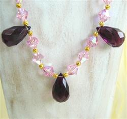 Handmade necklace purple drops 2